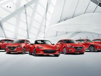 63.310 Neufahrzeuge konnte Mazda im Jahr 2016 in Deutschland verkaufen. Das Bild zeigt das aktuelle Modell-Line-up im deutschen Markt. (Foto: Mazda)
